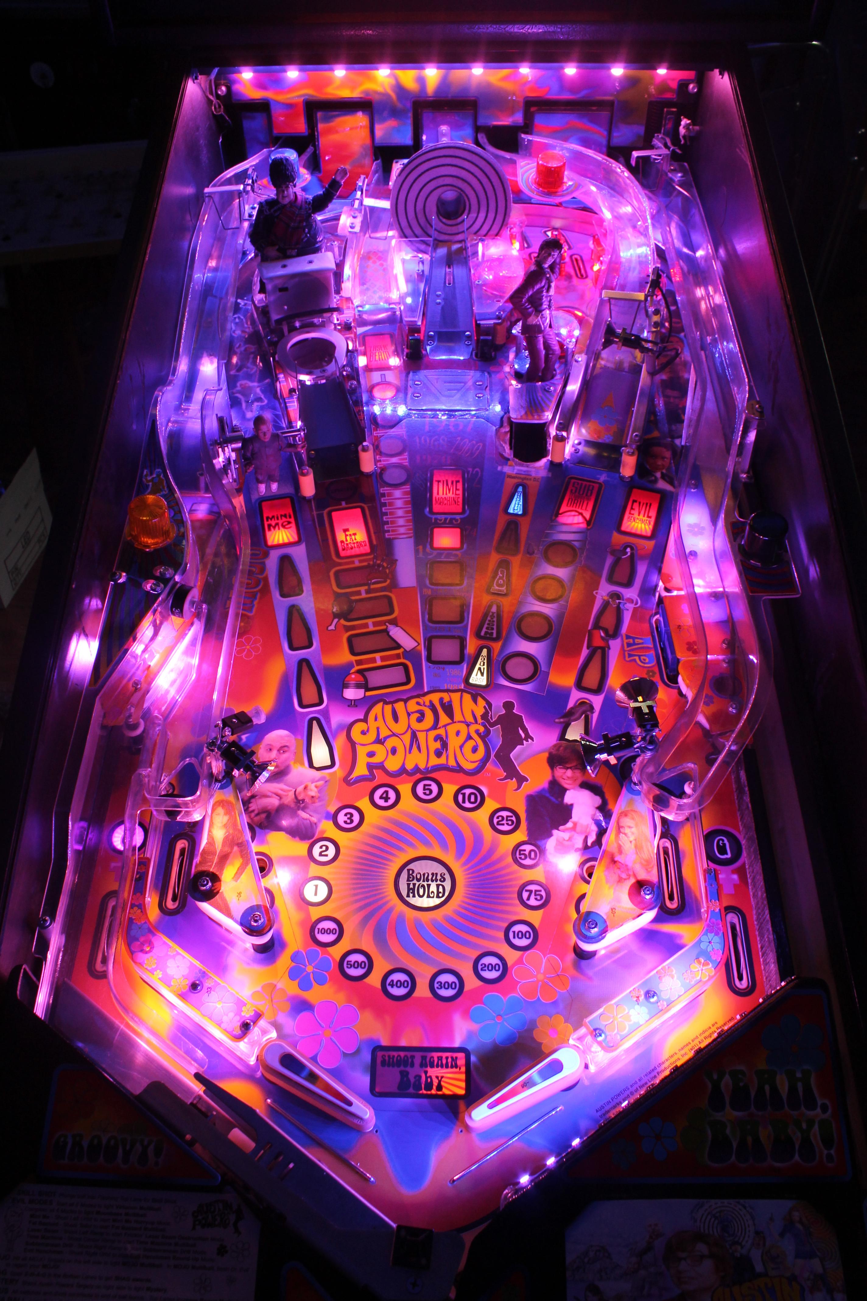 Lit Up Pinball Machine